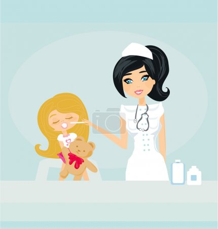 Doctor giving girl checkup