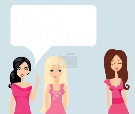 Illustration for Envious two women gossip about their friend - Royalty Free Image