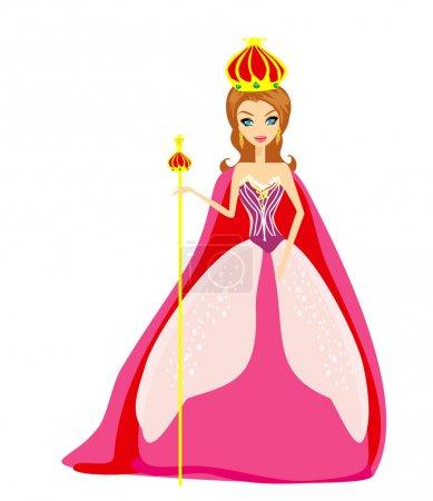Illustration pour Une illustration vectorielle de la reine des dessins animés - image libre de droit