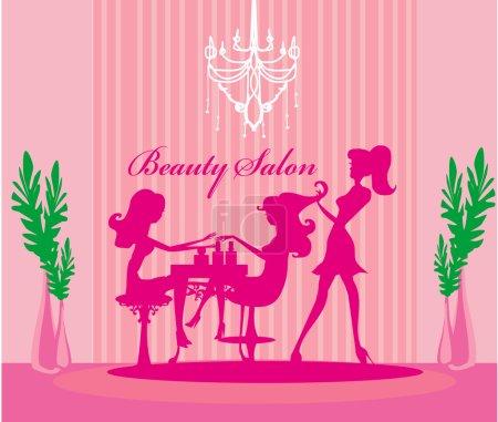 Illustration pour Illustration vectorielle de la belle femme dans le salon de beauté - image libre de droit