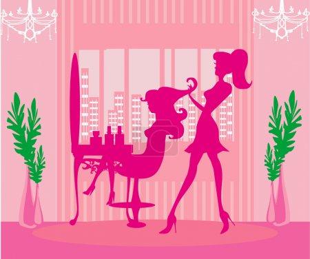Beautiful girl in hairdressing salon...