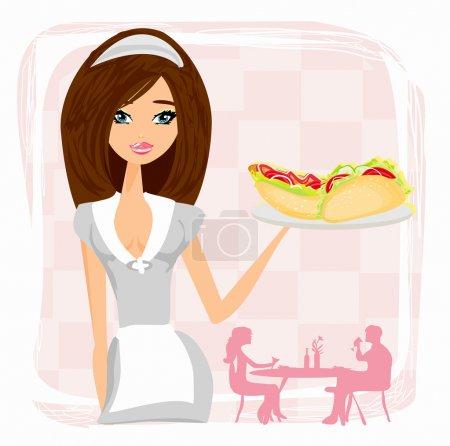 beautiful waitress with a tray.