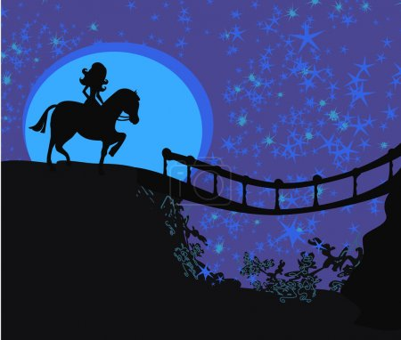 Illustration for Girl on the horse on top of the mountain - Royalty Free Image