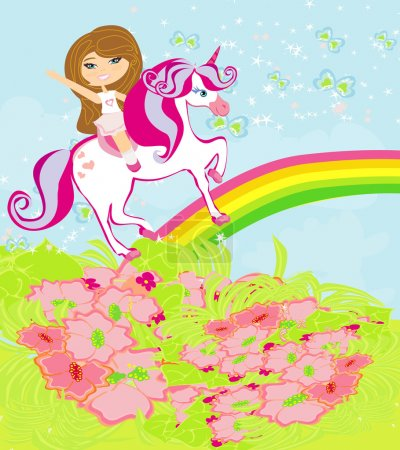 The girl who goes on the sky on a winged unicorn