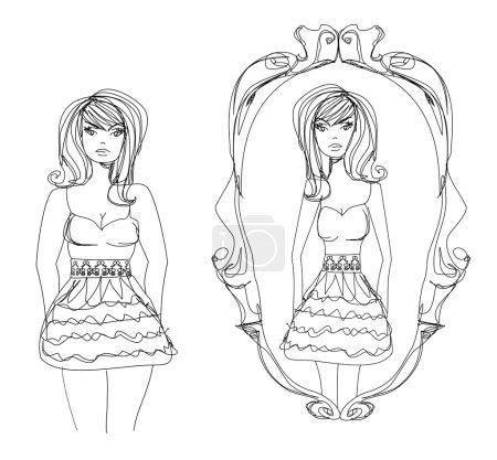 Illustration for Full lady enjoys her slim reflection - Royalty Free Image