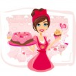 Saleswoman serving chocolate cakes...