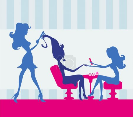 Illustration for Girl in a beauty salon, manicure and hairdresser - Royalty Free Image