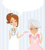 an elderly lady at the doctor in practice consultation with the