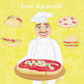 funny chef serves pizza Abstract card with fast food set