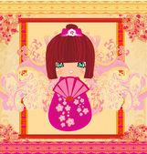 Kokeshi doll cartoon character  beautiful abstract card