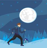 Nordic walking Man exercising at night