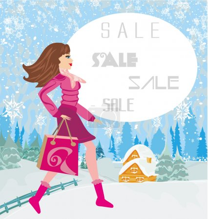 Winter sale, abstract card with a beautiful woman doing the shop