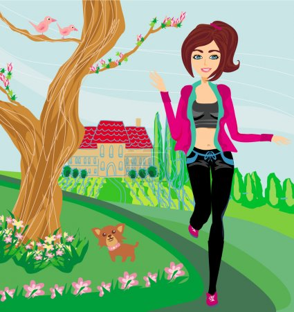 Jogging girl in spring