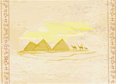 Old paper with pyramids giza and camel silhouette on desert landscape