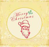 Santa Claus Doodle Portrait Retro Card