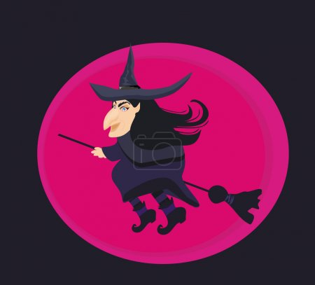 cartoon wicked witch flying on a broomstick