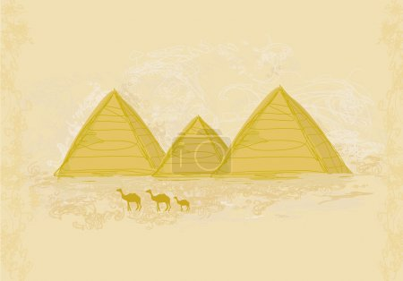 old paper with pyramids giza