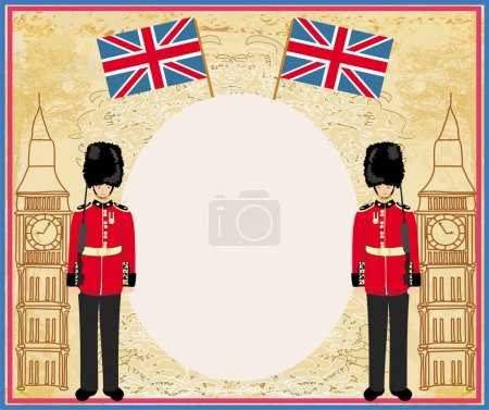 Abstract frame with a flag,Beefeater soldier and Big Ben