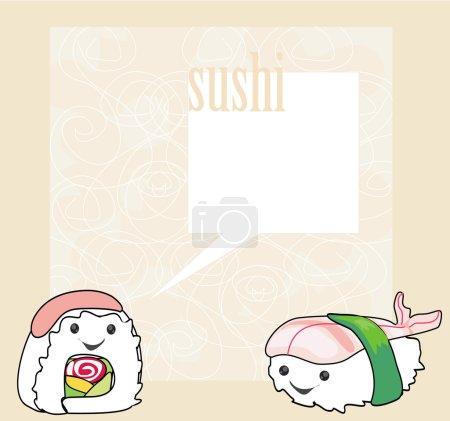 cute sushi cartoon illustration - vector card