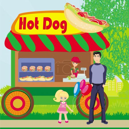 Hot dog booth stand in the city