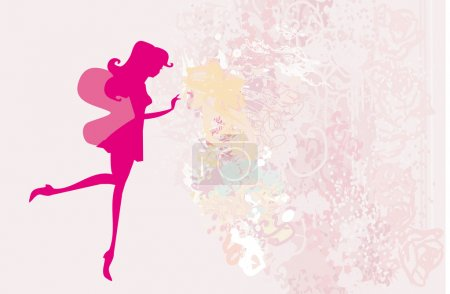 floral background with a beautiful fairy silhouette