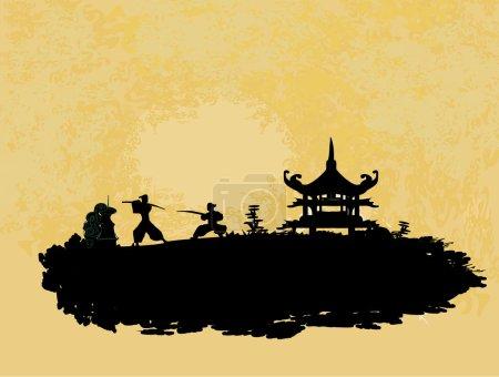 combats de silhouette de samouraï dans le paysage asiatique