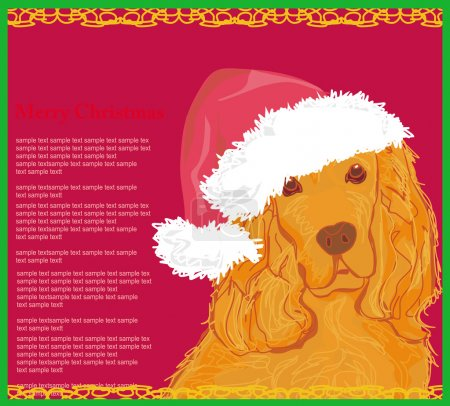 american cocker spaniel laying down wearing santa hat - card