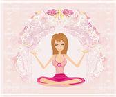 Jóga dívka v lotosové pozici abstraktní card