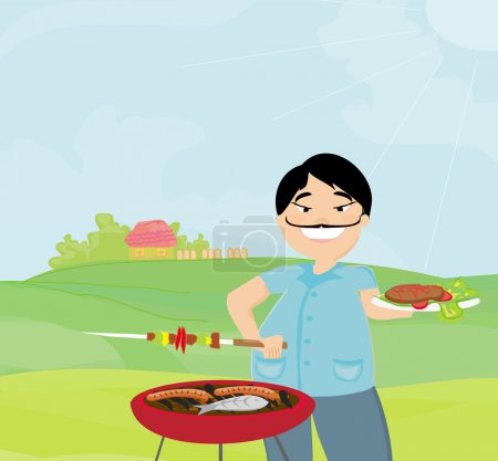 Man cooking on his barbecue on rural landscape
