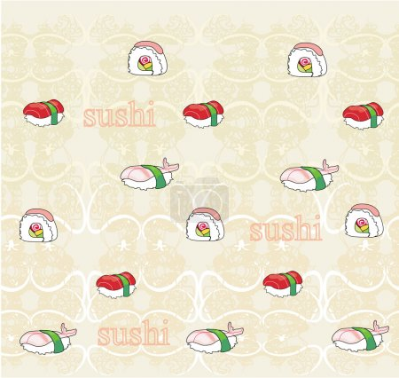 Vector pattern with sushi