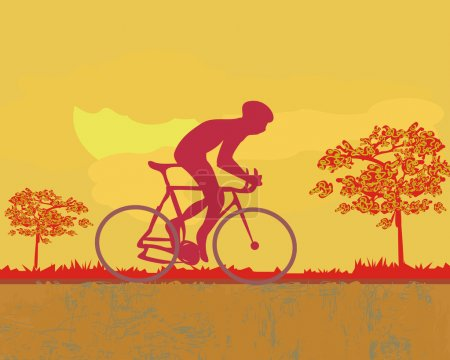 Cycling man silhouette at sunset Grunge Poster Template vector
