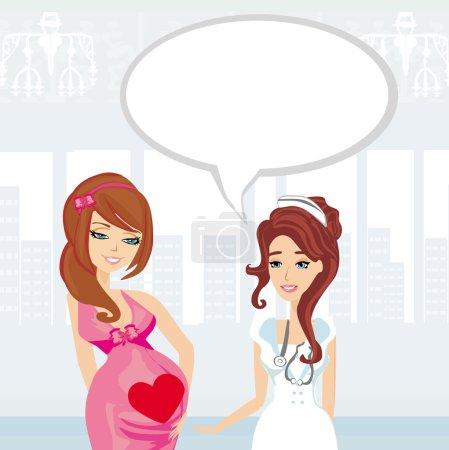 Illustration of a Pregnant Woman Having a Prenatal Checkup
