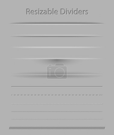 Illustration for Resizable dividers with transparent shadows for all surfaces - Royalty Free Image