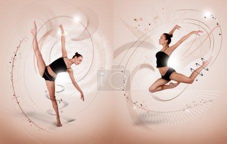 Ballet dancer on mocco background.