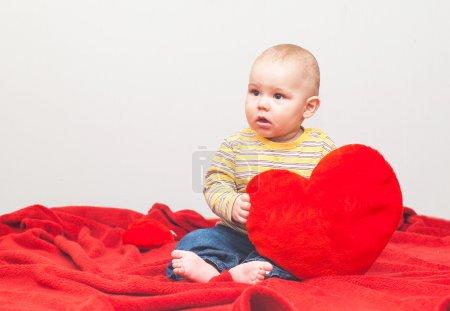 little sweet boy with heart