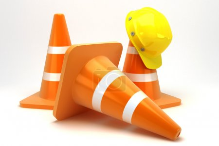 Construction Cone with Hard Hat