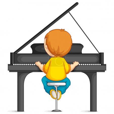Illustration pour Illustration vectorielle de jeune garçon jouant du piano - image libre de droit