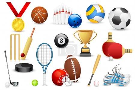 Illustration for Vector illustration of collection of different sports icon - Royalty Free Image