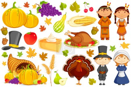 Illustration for Vector illustration of collection of Thanksgiving object - Royalty Free Image