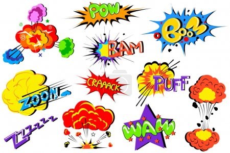 Illustration for Vector illustration of collection of comic book explosion - Royalty Free Image