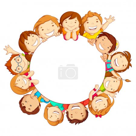 Illustration for Vector illustration of happy kids around circular copy space - Royalty Free Image