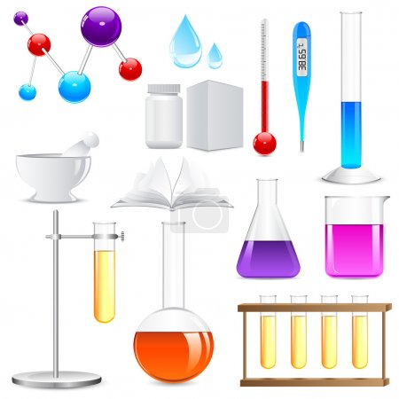 Illustration for Vector illustration of Laboratory glassware with colorful liquid - Royalty Free Image