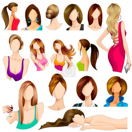 Illustration for Vector illustration of collection of female hair style - Royalty Free Image