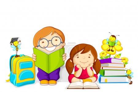 Photo pour Illustration vectorielle d'enfants étudiant le livre avec abeille - image libre de droit