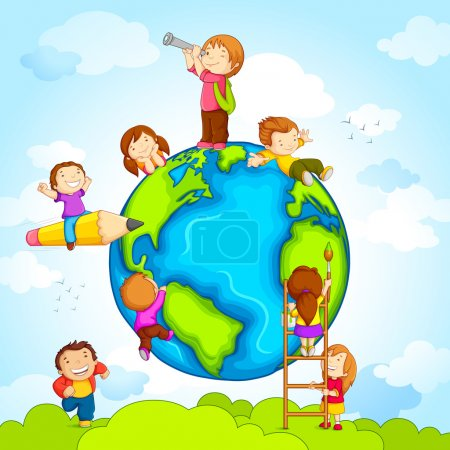 Illustration for Vector illustration of kids climbing around earth - Royalty Free Image