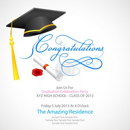 Illustration for Vector illustration of mortar board with graduation scroll - Royalty Free Image