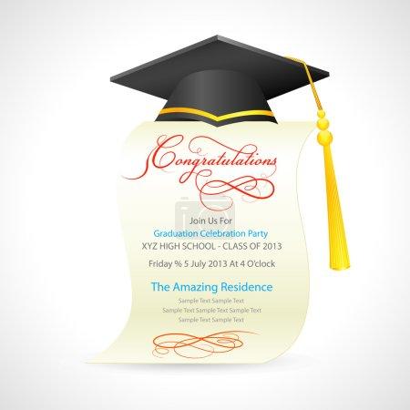 Illustration for Vector illustration of mortar board on graduation certificate - Royalty Free Image