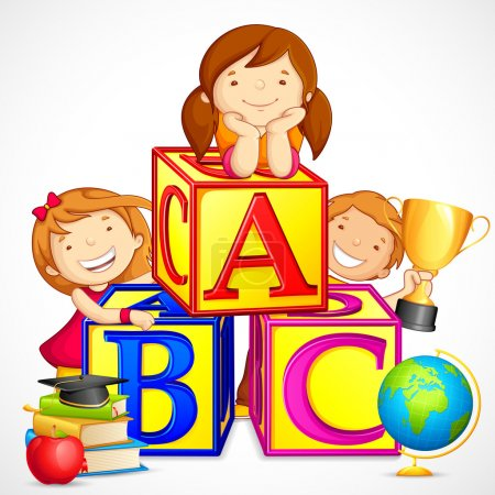 Vector illustration of kids playing with alphabet ...