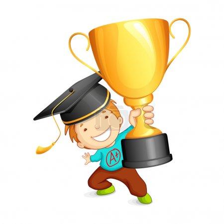 Graduate holding Trophy