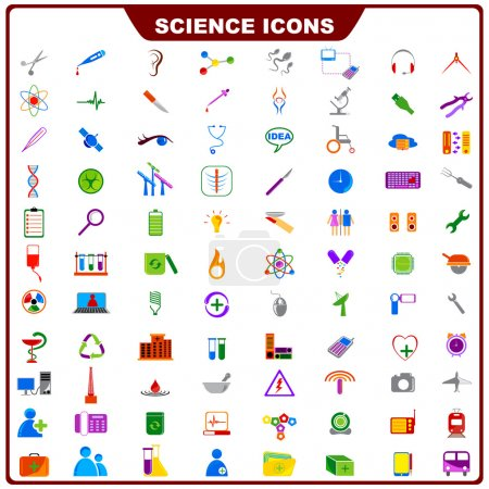 Vector illustration of complete set of science ico...